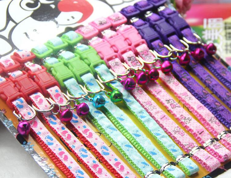 12pcs/lot 1.0*32cm Nylon Small Dog Collar Cat Collars With a Bell Adjustable Neck Strap Pets Products(China (Mainland))