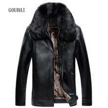 Men's Genuine Leather Jacket Fur Collar Plus Size Mens Casual Leather & Suede Man Business Coats Jaqueta Couro Masculino(China (Mainland))