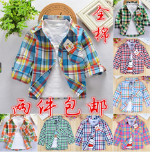 2015new arrival baby boys shirts spring autumn -summer  long sleeves children blouse plaid cotton girl clothing to school 2-8 T(China (Mainland))