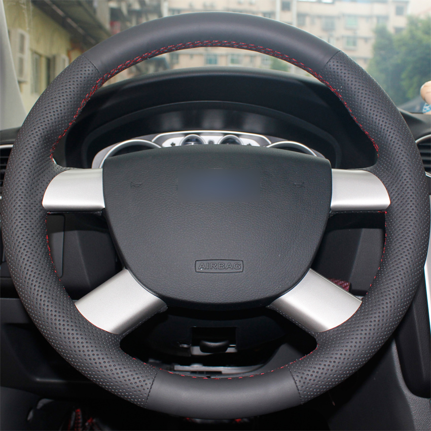Aliexpress com buy black leather steering wheel cover for ford kuga 2008 2011 focus 2 from