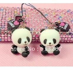 Free Shipping Kawaii Smiley Face Panda Key Chain/Mobile Phone Strap/Pendant,Mobile Pendant Retail