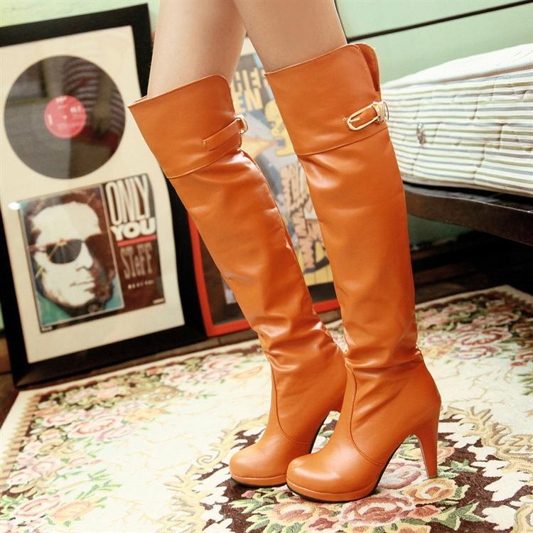 Winter women's shoes round toe boots ultra high heels thin long platform high-leg knee-length - Online Store 808308 store