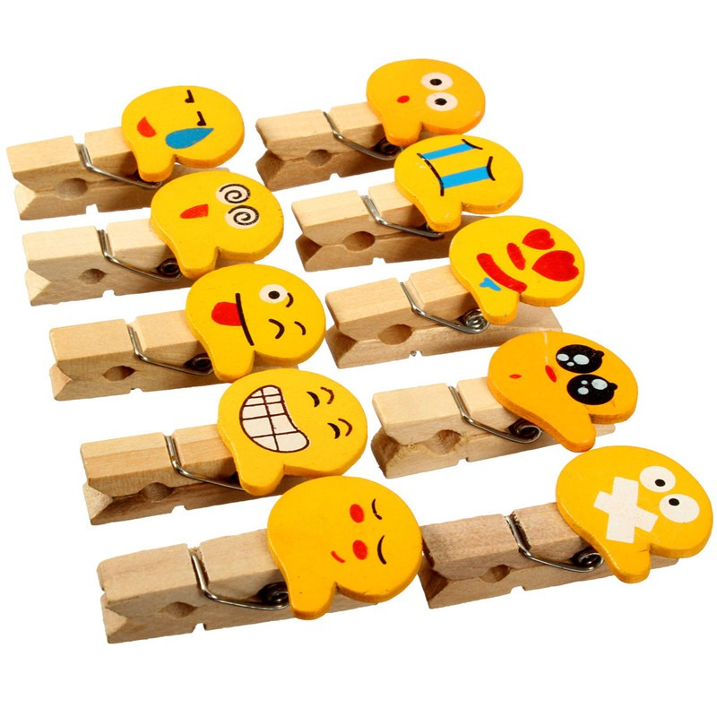 10Pcs Lovely Wooden Clips Pegs Clothespin Photo Paper Craft Clips Smile Face Expression Wedding Decoration Office Stationery(China (Mainland))