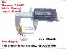 Free shipping 3.7V lithium polymer battery 052035 502035 mp3 recording pen point reading pen dedicated 300MAH