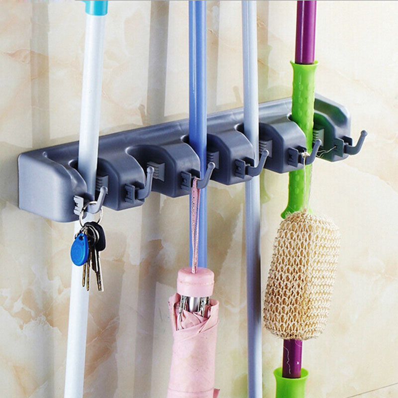 Wall Mounted Mop Organizer Holder Brush Broom Hanger Storage Rack Kitchen Tool JS0547(China (Mainland))