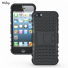 For iPhone 5s Case Heavy Duty Armor Shockproof Hard Silicone Rugged Rubber Phone Cover For Apple iPhone 5 Case 5s With Stand *<(China (Mainland))
