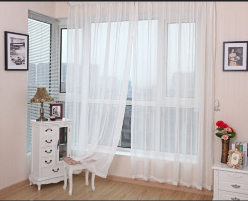 Modern one piece 150cm*270cm Sheer White Voile Scarf Curtain Panel Sets Curtains Extra Wide Long hot selling(China (Mainland))