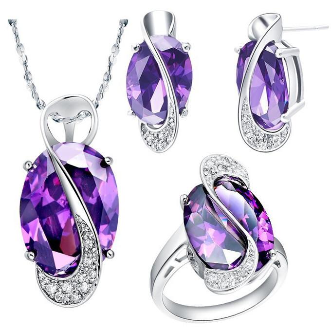 Sterling 925 Silver Jewelry Set Wedding Love Oval Blue Red Purple Sapphire Stone CZ Zircon Ring Pendant Earrings Finely Cut  -  EEL fashion jewelry store store