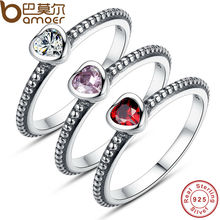 three Colors Real 100% 925 Sterling Silver Ring Love Coronary coronary heart Ring Genuine Marriage ceremony ceremony Jewelry PA7105