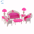 XFC Cartoon Girl Kids Toys Dollhouse Doll Vintage Sofa Chair Couch Desk Lamp Furniture Set Disassembled Doll Furniture