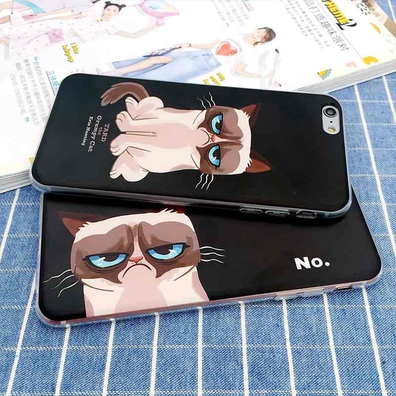 New Hot Cartoon lovely Grumpy Cat Phone Cases For iPhone 7 Plus/5 SE/6 6S/6Plus 6SPlus Soft TPU Cute black Cat capa coque Fundas