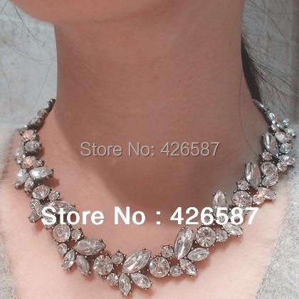 elegant brand cc retro vintage gold plated crystal choker statement collar bib necklace women jewellery - Yiwu M Queen Jewelry Factory store