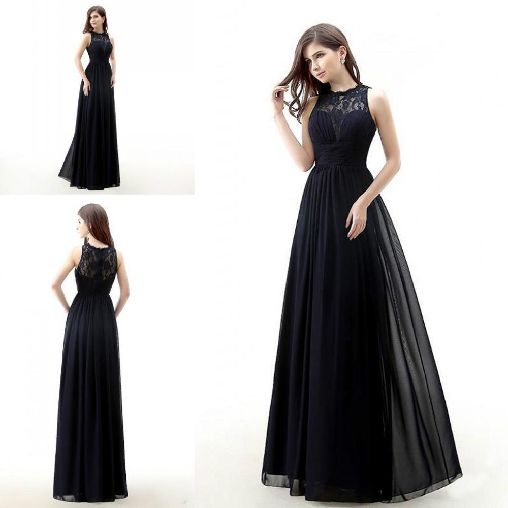 dark navy blue bridesmaids dresses 2015 cheap long chiffon jewel neck lace bridesmaid dress. Black Bedroom Furniture Sets. Home Design Ideas