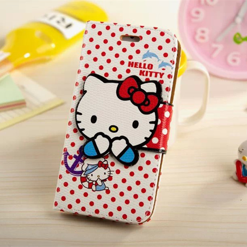 Lovely Cartoon Hello Kitty Bowknot PU Leather Case for iPhone 6 6s 4.7inch Fashion Phone Cover Stander with Card Slot(China (Mainland))