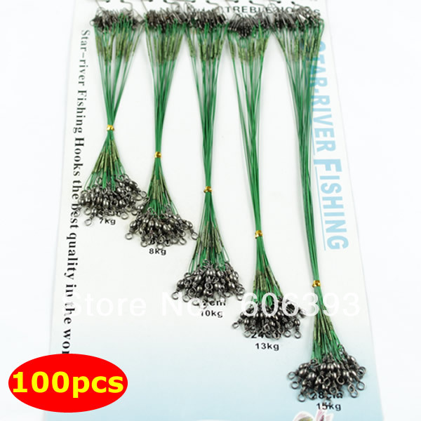 F98100pcs/pack Fishing Trace Lures Leader Steel Wire Spinner 16/18/22/24/28cm Green - eva's market store