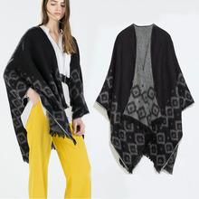 ZA Brand New Tassels Design Women Poncho Prorsum Warm in Winter Cashmere Wool Scarf Shawl for Women Pashmina bufanda manta(China (Mainland))