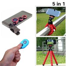 Buy High 5in1 Camera Kit Fisheye Len Wide Angle Len Macro Len 3in1 Lenses Tripod Bluetooth Shutter Xiaomi Samgung for $5.57 in AliExpress store