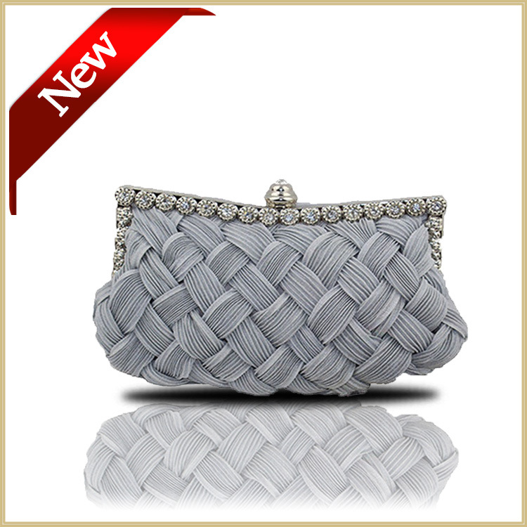Quality Soft knitted diamond weave women's messenger bag bride clutch with Chains tote party bag for evening small shoulder bags(China (Mainland))