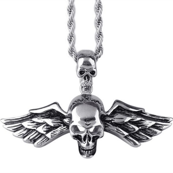 MN200 Stainless Steel Jewlery Men Gift Jewelry Necklace Skull Skeleton Necklace Pendant Fahion modern wholesale