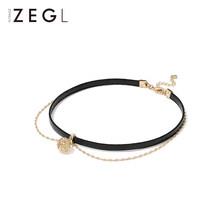 Zegl 2 Lớp Vòng Cổ Nữ Triều Choker Xương Đòn Dây Chuyền Ngắn Màu Đen Cổ Cổ Trang Sức Vòng Cổ Cổ Áo(China)