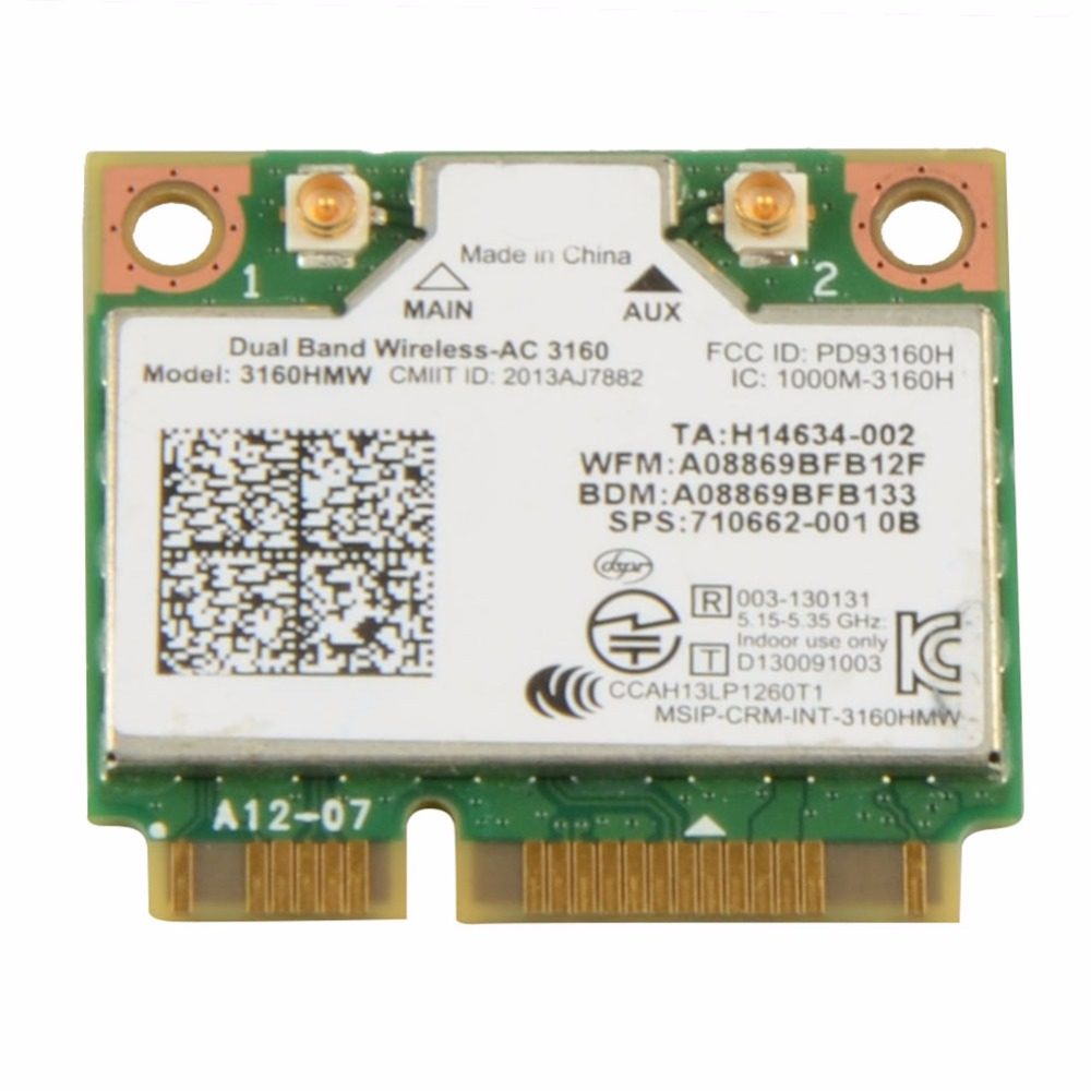 Laptop Network Cards GE70 Apache WIFI Card Dual Band Wireless AC 3160 3160HMW Notebook Network Cards VC893 T66(China (Mainland))