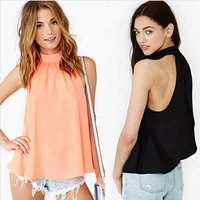 2015 women's spring summer casual chiffon sexy off the shoulder backless blouse new fashion sleeveless casual blouses