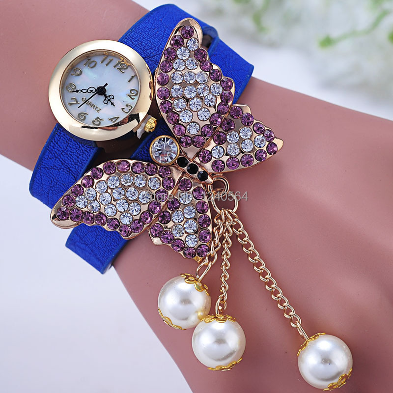 Free Shipping Hot Selling Pearl Pendants Rhinestone Butterfly Bracelets Bangles Fashion Wristwatch Women Casual Wrist Watches(China (Mainland))