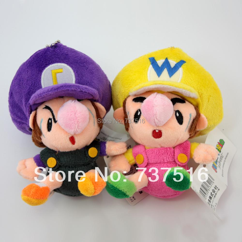 Super Mario Baby Waluigi & Baby Wario Plush Doll Adorable Soft Toy SET - 2 pcs girls baby toys new(China (Mainland))