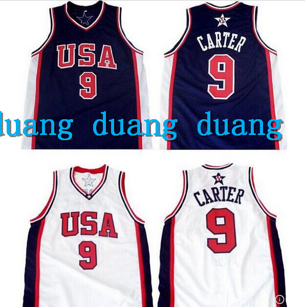 Free Shipping Men's Champion Vince Carter #9 Team USA 2000 Olympic Basketball Jerseys White Navy Retro Stitched Sport Jerseys(China (Mainland))