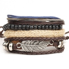 1 Set 4PCS leather bracelet Men's multi-layer bead bracelet women's retro punk casual men's jewelry bracelet jewelry accessories(China (Mainland))