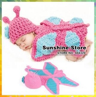 Sunshine store #3C2635 5 pcs/lot (blue pink)Handmade Crochet Baby flower butterfly hat cover Newborn Children Costume Set CPAM(China (Mainland))