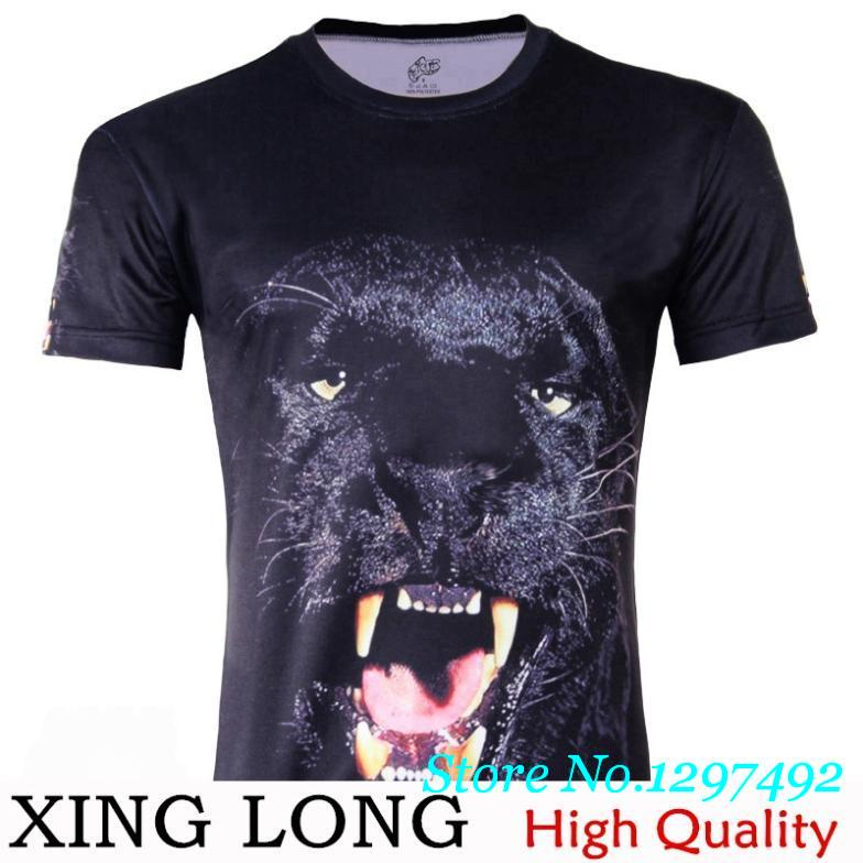 Summer new men's fashion trends Panthers personality 3d prints Nutty loose big yards short sleeve t-shirt men(China (Mainland))