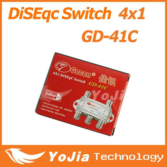 10pcs Original Gecen GD-41C 4 x 1 Satellite DiSEqC Switch for FTA DVB-S2 receivers with high quality Free Shipping Post(China (Mainland))