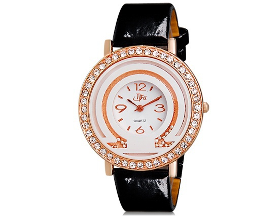 New 2014 DFA 6227 Crystal & Bead Decorated Women's Round Analog Watch with Faux Leather Strap Trendy Watch Brands Originals(China (Mainland))