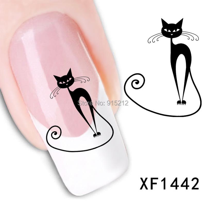 1pcs Style Watermark 3D Design Cute DIY black cat Tip Nail Art Nail Stickers For Nails Decal Nail Tools Free shipping(China (Mainland))