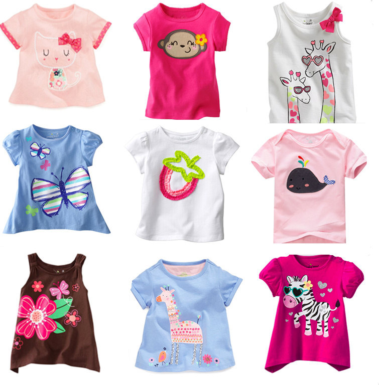 Retail Brand New 2015100%Cotton Kids Clothes Child Blouse tshirts Clothing Summer Baby Girls T-shirts Top casual dress christmas(China (Mainland))