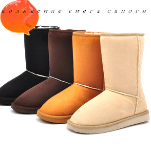 2016 New Style EVA Non Slip Suede Snow Boots Female In Tube Warm Lamb's Wool Snow Boots Cotton Winter Shoes Hot Sale Women Boots(China (Mainland))
