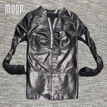 Black Long Sleeve beading V-Neck T-shirt genuine leather patchwork t shirt women sheepskin women tops plus size Free ship LT034(China (Mainland))