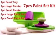 A estrenar 7 unids Set decorativo punto de la pared y Paint Brush Roller herramienta de sistema de Kit 2 unid grande + 2 unid pequeña almohadilla como se ve en TV