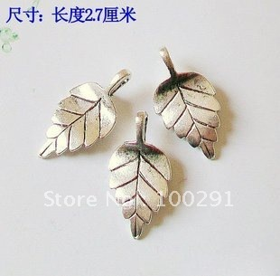 Wholesale 100pcs/Lot DIY Jewelry Accessories Vintage silver plated  another style leaf,the size:2.7 cm Pendant  for you