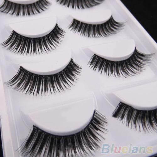 5 Pairs Thick Soft Cross Fake Eye Lash Party Makeup Extension False Eyelashes