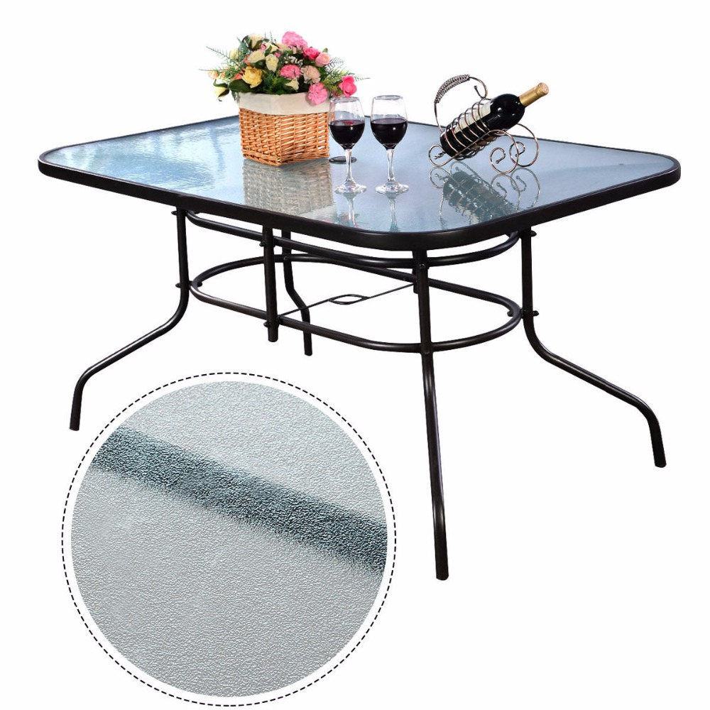 Modern Outdoor Bar Rectangle Table Dining Home Furniture Glass Steel Black Free Shipping HW51790(China (Mainland))