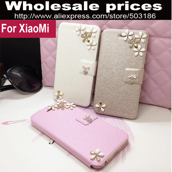Beautiful Connected flower Diamond Rhinestones Leather case cover For Xiaomi Mi3 Mi4 Redmi 1s 2 3 note Pink Gold White(China (Mainland))