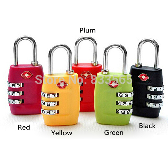 A7 Free shipping New TSA Resettable 3 Digit Combination Travel Luggage Suitcase Lock Padlock  IA817 P<br><br>Aliexpress