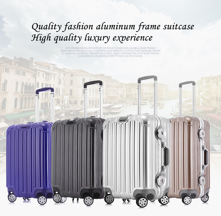 20 24 29 The new aluminum frame ABS travelling bag rolling trolley women luggage sets spinner wheel men travel suitcase A1024(China (Mainland))