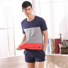 Free Shipping New Men's Cotton Pajama Set Fashion Patchwork Lounge Set Sleepwear at Home 2 Colors Size M L XL XXL(China (Mainland))