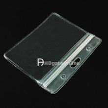 100 PCS ID Card Holder business Plastic Card badge ZIP Waterproof Horizontal for reel lanyard(China (Mainland))