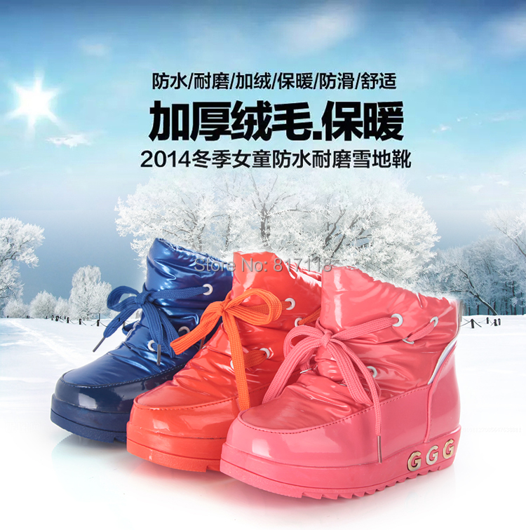 Female child boots cotton boots 2014 autumn and winter princess boots child boots big boy knee-high cotton-padded shoes snow(China (Mainland))