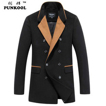 PUNKOOL Mens Trench Coat New Fashion Winter Long Mens Trench Coat 2016 Business Casual Turn-down Collar Warm Trench Coat Men(China (Mainland))