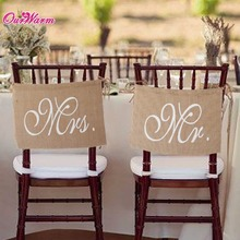 Khaki Mr. & Mrs. Burlap Chair Banner Set Chair Sign Garland Rustic Wedding Party Decoration(China (Mainland))